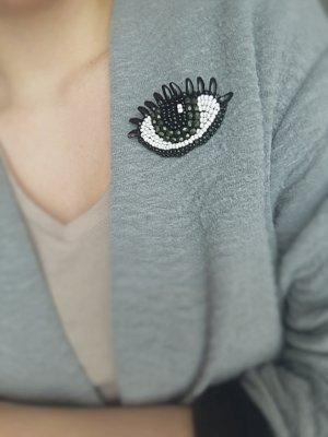 Eye Brosche Grün