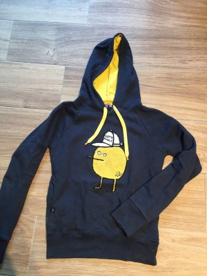 Cleptomanicx Hooded Sweatshirt dark blue-yellow