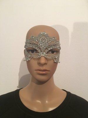 Eyes wide shut  Maske Maskenball Spitze filigran gehäkelt Silber edel elegant Karneval Venedig Ball Fasching Barock Verführerisch feminin Strasssteine Gummiband