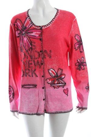 Faber Strickjacke magenta-pink Blumenmuster Glitzer-Optik