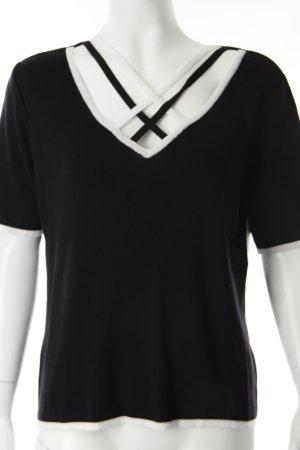 Faber Strickshirt schwarz-weiß Streifenmuster Casual-Look