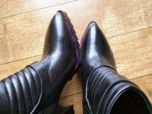 FABI Luxus Leder Stiefelette schwarz