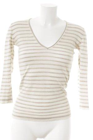 Fabiana Filippi V-Ausschnitt-Pullover beige Streifenmuster Casual-Look