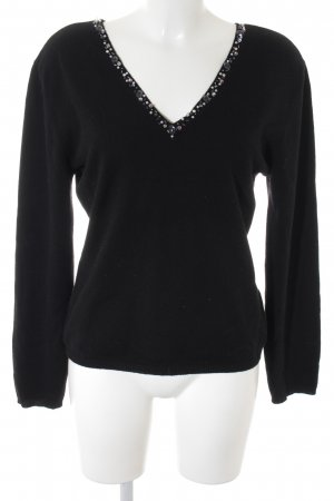 Fabiana Filippi V-Ausschnitt-Pullover schwarz extravaganter Stil