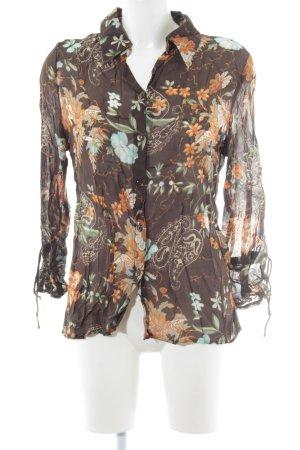 Fabiani Langarm-Bluse braun-hellorange Blumenmuster schlichter Stil