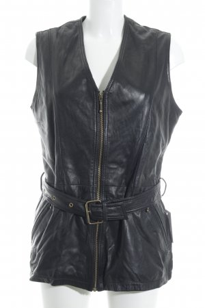 Fabiani Leather Vest black brown biker look