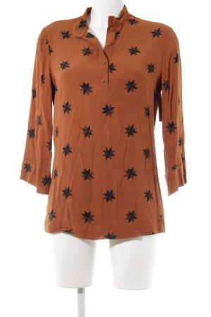 Fabienne Chapot Langarm-Bluse dunkelorange Monogram-Muster Casual-Look