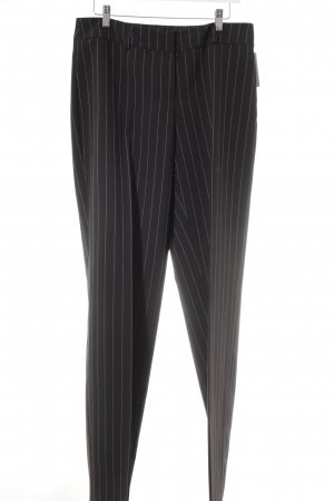 Fabrizio A. Pleated Trousers black-natural white striped pattern business style