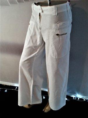 Pantalon pattes d'éléphant blanc coton
