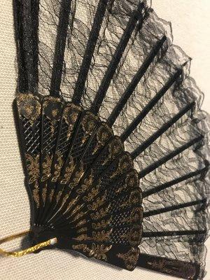 Fächer Spitze schwarz goldfarben Handfächer NEU Steampunk Spitzenfächer Gothic Pirat RETRO Vintage Lace Karneval Fasching Hexe Moon Gloves