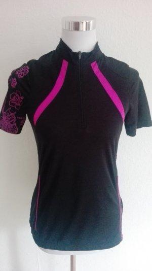 Camisa deportiva negro-rojo frambuesa