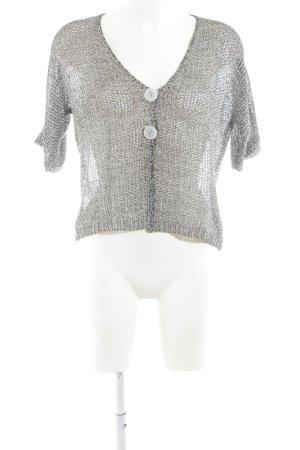 Fair Lady Short Sleeve Knitted Jacket light grey flecked transparent look