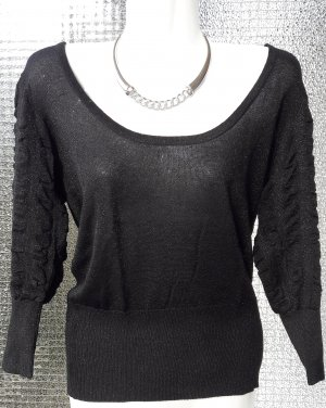 FAIRES ANGEBOT!  Shirt Pullover in schwarz mit Lurexanteil inkl. GRATIS Colliere