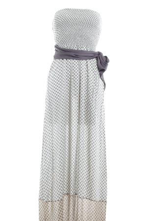 Fairly Bandeaukleid graublau-creme Ornamentenmuster Elegant