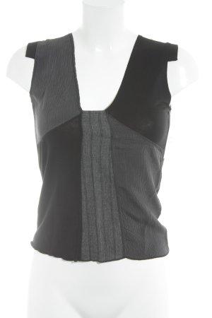 Fairly Canotta a bretelle nero-grigio motivo a righe stile casual