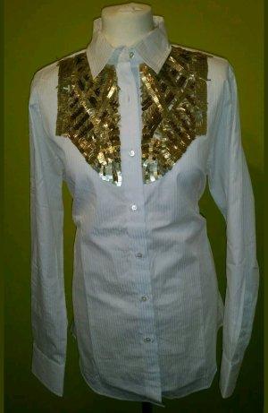 Faith Connexion hochwertige Bluse weiß mit Pailletten gold