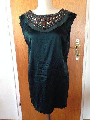 Faith Connexion Kleid dunkelgrün Silber Strass Nieten gr S 36 wie neu