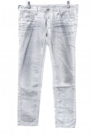 Faith connexion Skinny Jeans silberfarben Glitzer-Optik