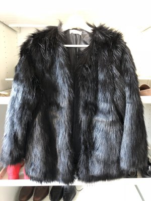 H&M Abrigo de piel sintética negro