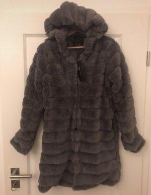 Amisu Fake Fur Coat grey