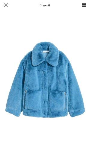 Fake fur faux Himmelblau h&m Trend blau 38