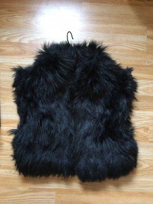 55 DSL Smanicato di pelliccia nero Pelliccia ecologica