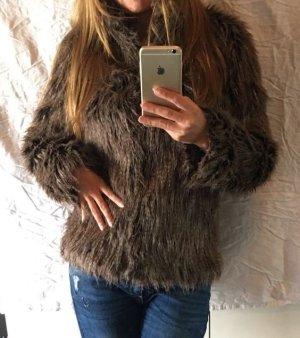 Fake Fur Jacke Fell braun beige zara Mango Blogger edel 36 s vintage 70s h&m