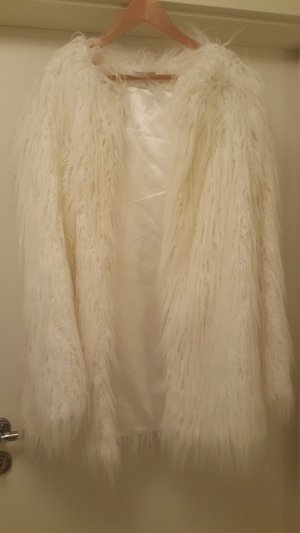 Fake Fur Jacke  in Cremeweiss