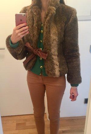Fake Fur Jacke mit Wildlederschleife