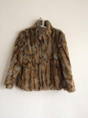 *Fake Fur* Kaninchen-Felljacke, Kastenform, Stehkragen, kuschlig weich, Gr. 36