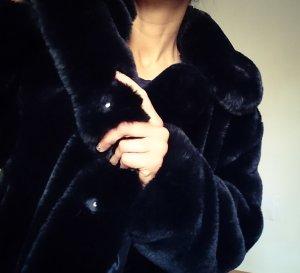 Mango Fake Fur Coat black