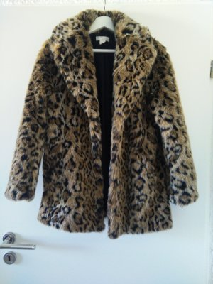 Fake Fur Mantel mit Leopardenmuster