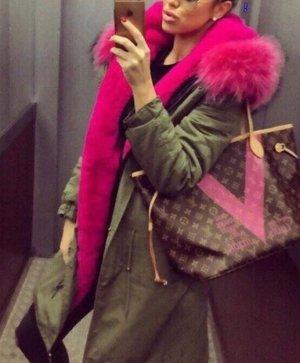 Fake Fur Parka Jacke Mantel Khaki XXL Kapuze rosa Fell zara asos Mango blogger