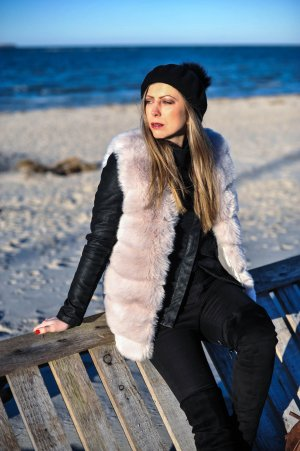 Fur vest light pink-light grey mixture fibre