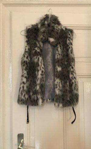 Zara Vest van imitatiebont lichtgrijs-grijs