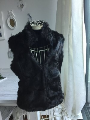 Fur vest black brown