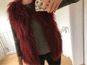 Zara Fake Fur Vest bordeaux