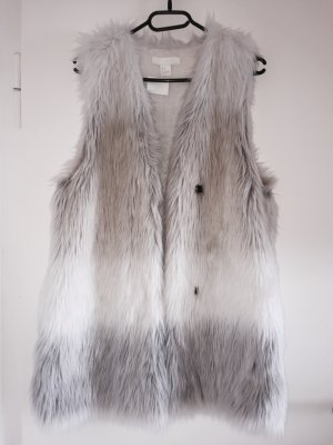 Fake Fur Weste H&M Grau Weiss