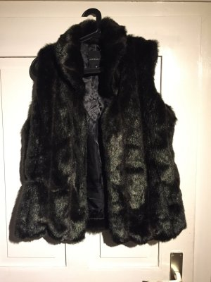 Fake Fur Weste in schwarz