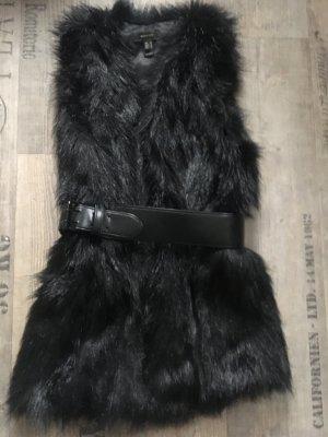 Mango Vest van imitatiebont zwart