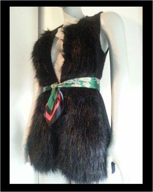 Fake Fur Weste Strickweste Pulli schwarz Fellweste h&m 36