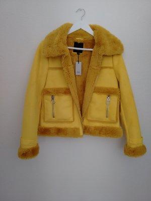 Fake Fur Winterjacke gelb