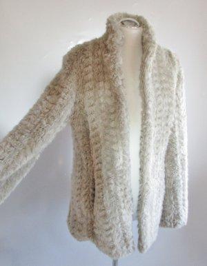 Fake Fur Wintermantel Amisu Größe 42 L Beige Grau Hellgrau Röschen Plüsch Mantel Kurzmantel
