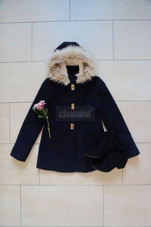 Fake Fur Wintermantel Marineblau