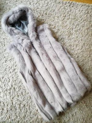 Giacca di pelliccia grigio chiaro
