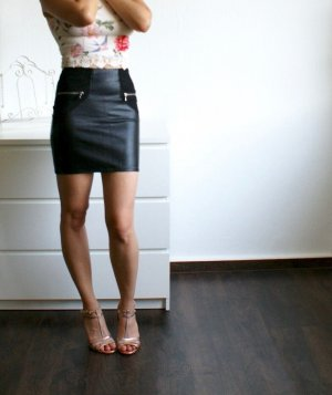 Fake Leather Kunstleder High Waist Mini Skirt Rock XXS/XS 32/34