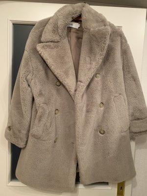 Closed Cappotto in eco pelliccia grigio chiaro
