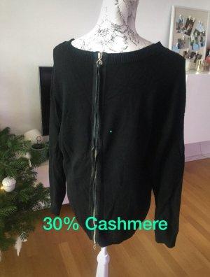 Falconeri Cashmere Pullover schwarz mit Reißverschluss  Größe XL