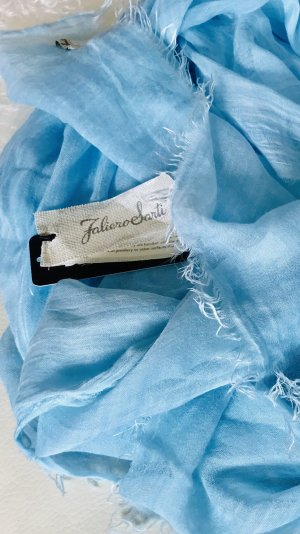 Faliero sarti Bufanda de seda azul aciano tejido mezclado