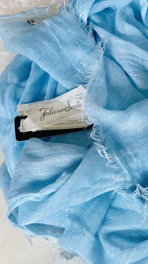 Faliero sarti Sciarpa di seta blu fiordaliso Tessuto misto